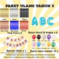Paket Ulang Tahun 3 / Paket Balon Ultah 3 / Paket Balon Huruf & Angka
