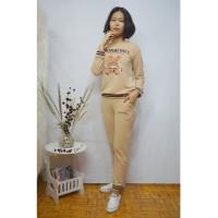 Baju Casual Wanita,Model Setelan Panjang,bahan BABY TERRY SPANDEK,01E - PINK SALEM