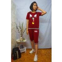 Baju Casual wanita,Model Setelan 7/8,bahan BABY TERRY SPANDEK,02B - Hitam