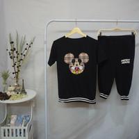 Baju Casual wanita,Model Setelan 7/8,bahan BABY TERRY SPANDEK,02C - Hitam