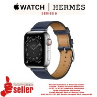 Apple Watch Series 6 Hermes Silver Stainless Steel Leather Single Tour