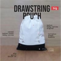 drawstring pouch, tas serut kanvas variasi, besar, stylist, polos