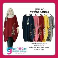 JUMBO TUNIC LINDA Setelan Baju Celana Muslim Wanita XL,XXL,3XL 5 warna - Maroon, XL
