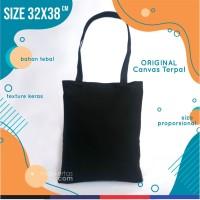 tas kanvas tote bag hitam polos , readystok, tebal dan murah