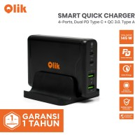 Qlik 100W-145W Smart Quick Charger 4 Port Type C PD & QC 3.0 + Docking