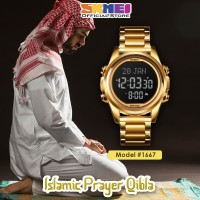 Jam Tangan Pria SKMEI 1667 Qibla Watch GOLD BLACK WaterResist 30m