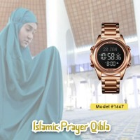 Jam Tangan Pria SKMEI 1667 Qibla Watch ROSEGOLD BLACK WaterResist 30m