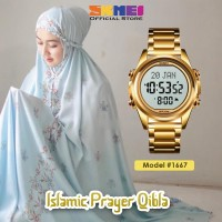 Jam Tangan Pria SKMEI 1667 Qibla Watch GOLD WHITE WaterResist 30m