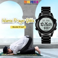 Jam Tangan Pria SKMEI 1667 Qibla Watch BLACK WHITE WaterResist 30m