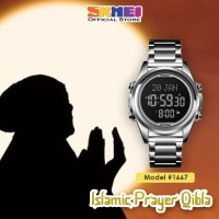 Jam Tangan Pria SKMEI 1667 Qibla Watch SILVER BLACK WaterResist 30m