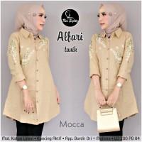 baju atasan wanita tunik muslim bahan katun linen motif bordir-alfari