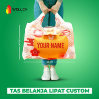 Foldable Shopping Bag Tas Belanja Lipat Jumbo Custom Print Water Proof - Small 30x40 cm