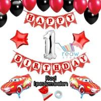 Paket Dekorasi Hiasan Balon Ulang Tahun Happy Birthday Mobil Cars