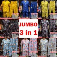 Piyama Jumbo baju tidur katun 3 in 1