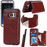 SAMSUNG GALAXY S7 EDGE back cover leather case card wallet stand tpu