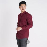 Baju Kemeja Lengan Panjang Casual Pria Merah Maroon Polos Slimfit 3236