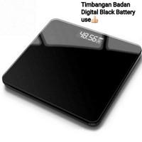 Timbangan Badan digital kaca Battery Full black Jumbo 26x26cm