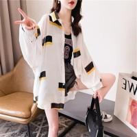 Baju Wanita Fashion Ala Korea Kemeja Kotak Design monokrom motif unik