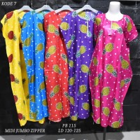 Grosir Daster Midi Jumbo Rayon Busui Zipper Murah Baju Tidur Kode 7