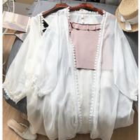 baju outer cardigan luaran tali model crop pendek outwear pesta