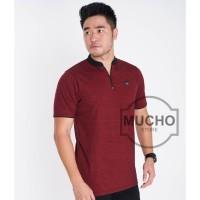 kaos polo shirt polo shirt pria kerah shanghai warna maroon gerimis