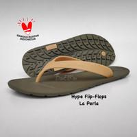 Sandal Jepit Hype Flip Flops La Perla Army/Mocha Unisex Pria Wanita - 39