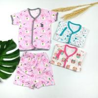 Setelan Baju Pendek Bayi Perempuan LITTLE Q Kancing Depan & Celana S