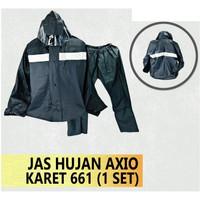 Jas Hujan ORIGINAL Axio Karet AX-661 Resleting Waterproof Pres Kuat