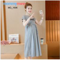 Mommymine Dress Hamil / Menyusui Impor (MD_1696) - Abu-abu, M