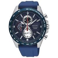 Jam Tangan Pria Seiko Chronograph Blue Dial Blue Rubber Strap SSB289P1