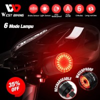 Lampu Sepeda Smart Brake Auto Start Stop Sensor West Biking LD431