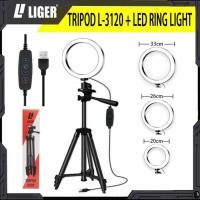 TRIPOD 3120 + RING LIGHT LED SELFIE MAKE UP LIVE TIKTOK Ring Light