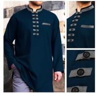 Baju Muslim. Baju Koko Akhtar PRia Lengan Panjang ada 4 Warna - Tosca - Hijau Tosca, S