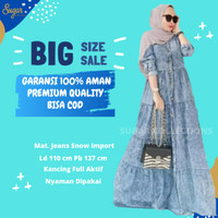 Baju Gamis Muslim Gamis Gamis Jeans Bahan Snow Fit XXL Recomended