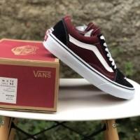 Sepatu VANS Oldskoll Maroon Black White (Bisa Cod) - Merah, 36