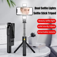 Tongsis Bluetooth Tripod Bluetooth With Dual LED 8cm Rechargeable