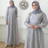 Gamis Maxi / Baju Dress Wanita Muslim Dinara Moscrepe Kombi Brukat Hq