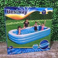 Bestway Rectangular Family Pool Biru Putih. Kolam Renang Karet Anak