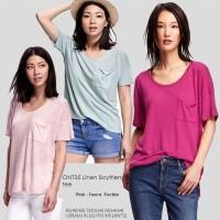 OLD NAVY 35 Linen Boyfriend Tee Baju Atasan Kaos Wanita Branded