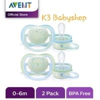Empeng Avent Pacifier Glow in The Dark Star 0-6m Night Time Soother