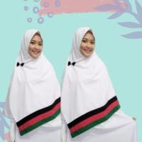 Jilbab Segi Empat Palestine Dasar Putih 2 Sisi / Hijab Palestina