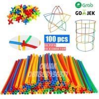 MAGIC STRAW Mainan edukasi anak / mainan bangunan 4 dimensi 100 pcs