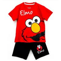 LGM Setelan Baju Kaos Anak Cowo Elmo Merah Size 1-10 Tahun