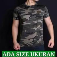 Baju Kaos ARMY Pria Loreng Tentara tbc gym fitness - Hijau, XXL
