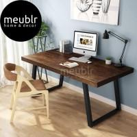 Meja Computer Desk Solid Wood, Vintage Industrial Home Office