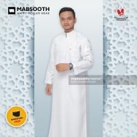 Terkini! Baju Gamis Putih Pria Dewasa / Jubah Muslim Resleting - Polos