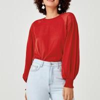 Ariah Balloon Sleeve Top - Red