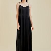 Talia Pleated Maxi Camisole Dress - Black
