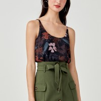 Doreen Camisole Top in Floral Symphony - Black