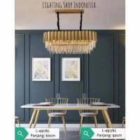L491 6L Lampu gantung kristal gold mewah modern decor hias lighting - Panjang 60cm